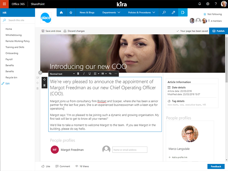 Kira takes full advantage of the most recent SharePoint user interface features